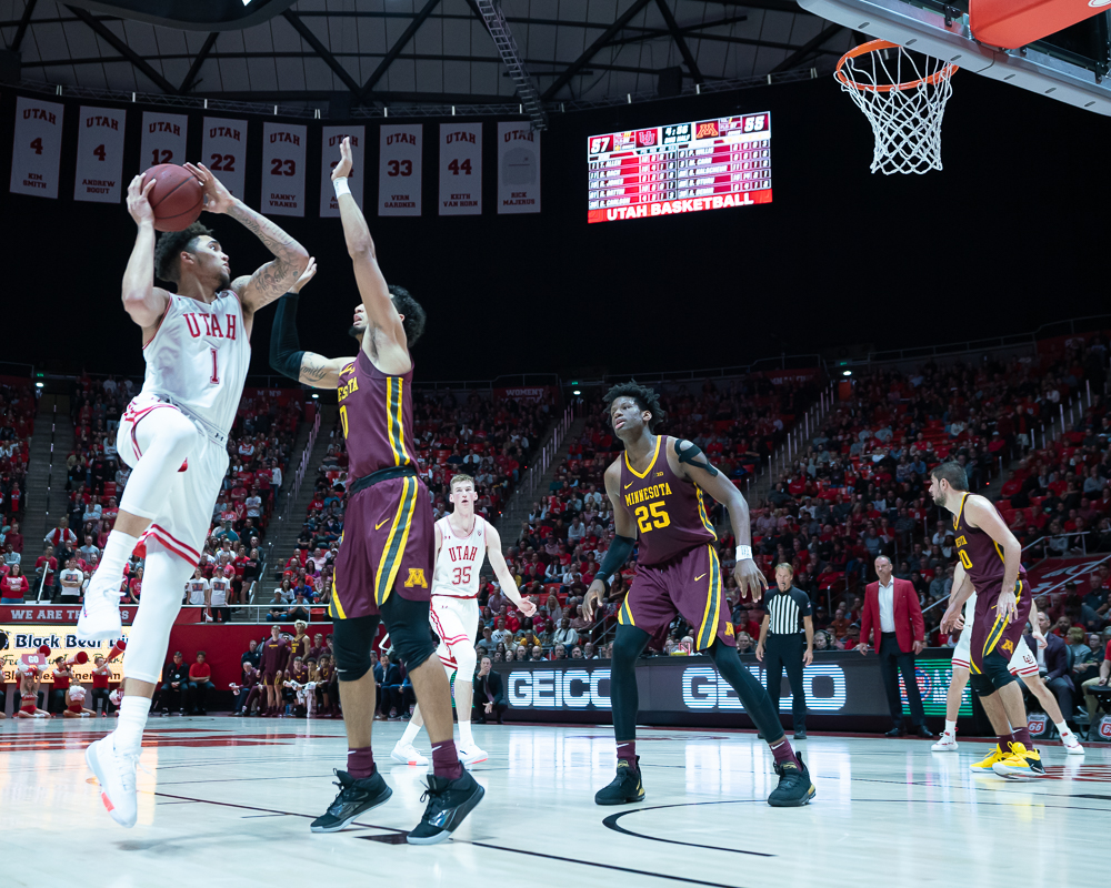 University of Utah Utes Forward Timmy Allen (1) scores in an NCAA Basketball match vs. the Minnesota Gophers at the Jon M. Huntsman Center in Salt Lake City, Utah on Friday, Nov. 15, 2019. (Photo by Abu Asib | The Daily Utah Chronicle)