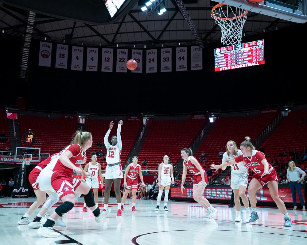 University of Utah Utes Women's Basketball Team Forward Lola Pendande (12) scores from a free throw during an NCAA Basketball match vs. the South Dakota Coyotes at the Jon M. Huntsman Center in Salt Lake City, Utah on Saturday, Nov. 16, 2019. (Photo by Abu Asib | The Daily Utah Chronicle)
