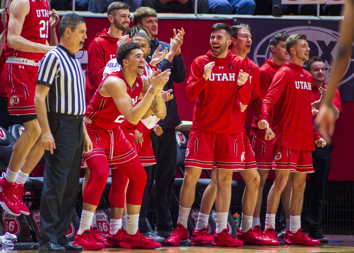 The University of Utah bench celebrates after a basket during an NCAA Basketball game vs. the USC Trojans at the Jon M. Huntsman Center in Salt Lake City, Utah on Thursday, March 7, 2019. (Photo by Kiffer Creveling | The Daily Utah Chronicle)