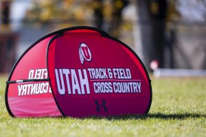 Event signage during the Women's 5K run at the Utah Open in an NCAA Cross Country Meet at Sunnyside Park in Salt Lake City, UT on Friday October 25, 2019.(Photo by Curtis Lin | Daily Utah Chronicle)