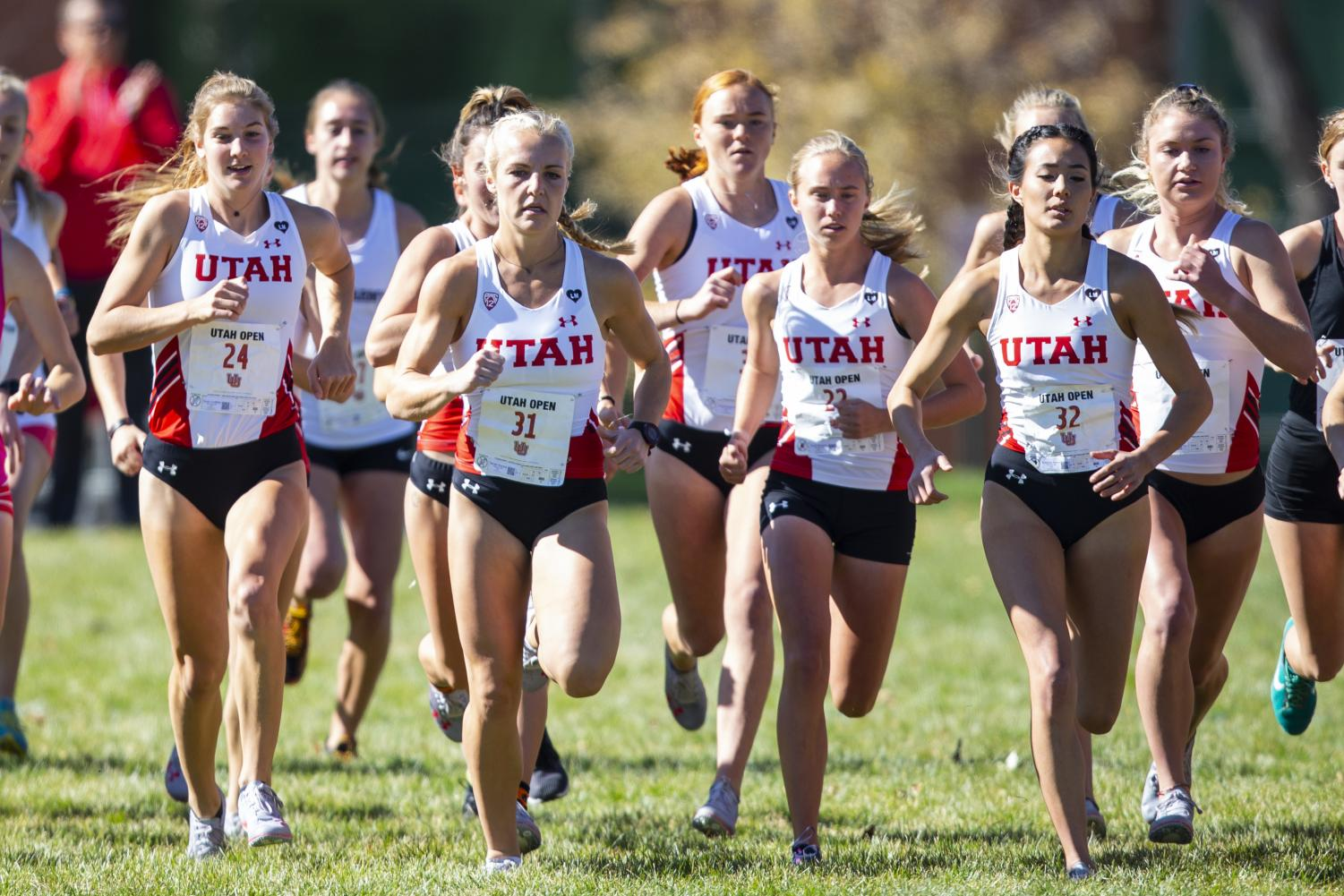 The University of Utah Cross Country Team during the Women's 5K run at the Utah Open in an NCAA Cross Country Meet at Sunnyside Park in Salt Lake City, UT on Friday October 25, 2019. (Photo by Curtis Lin | Daily Utah Chronicle)