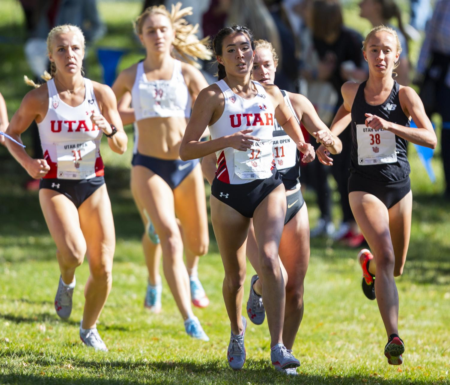University of Utah sophomore Kennedy Powell (32) during the Women's 5K run at the Utah Open in an NCAA Cross Country Meet at Sunnyside Park in Salt Lake City, UT on Friday October 25, 2019.(Photo by Curtis Lin   Daily Utah Chronicle)