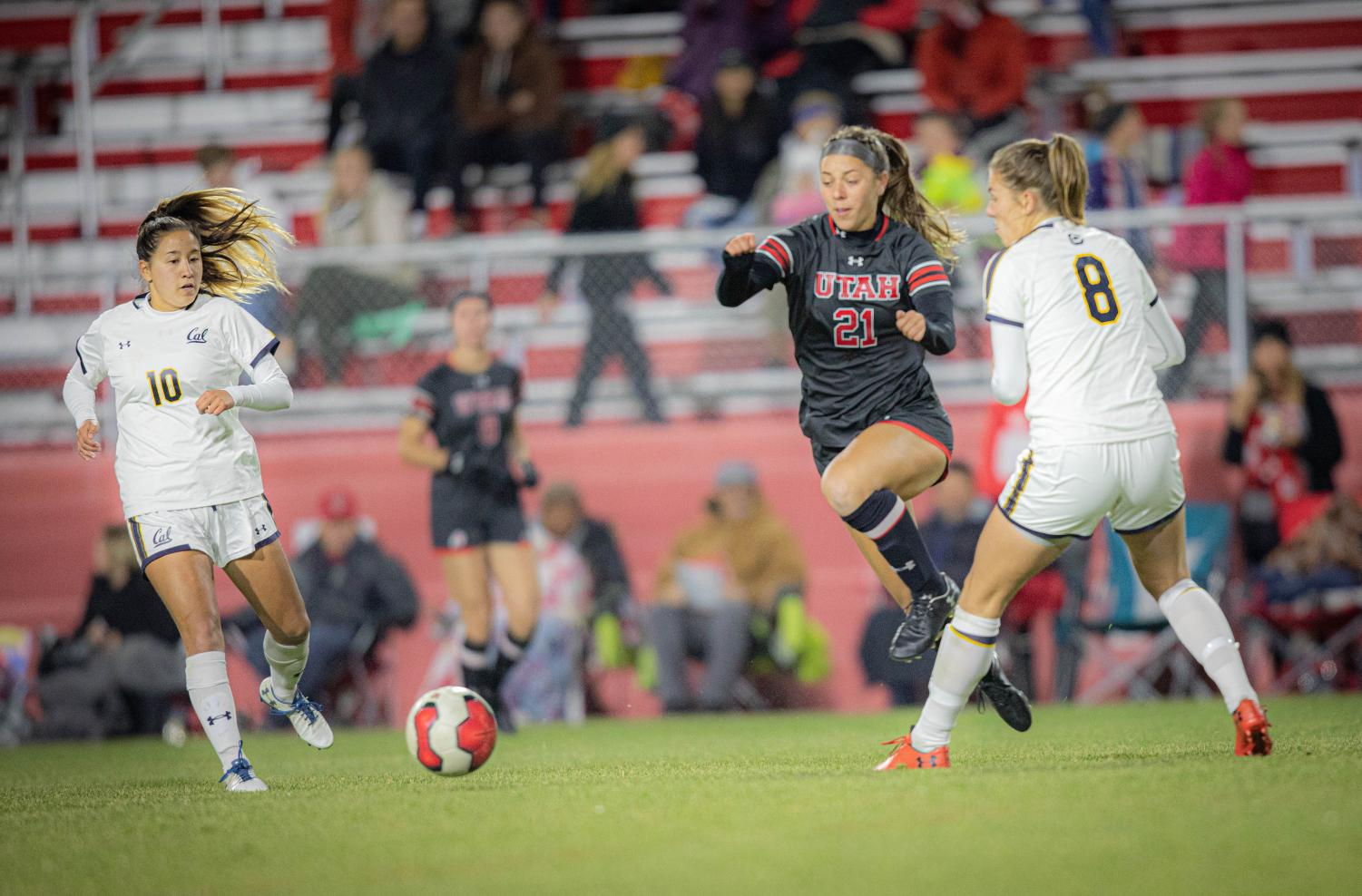IRELAND DUNN (21) in University of Utah womens soccer vs. California Bears game at Ute Soccer Field in Salt Lake City, Utah on Thursday, Oct. 24, 2019(Photo by Cassandra Palor| The Daily Utah Chronicle)