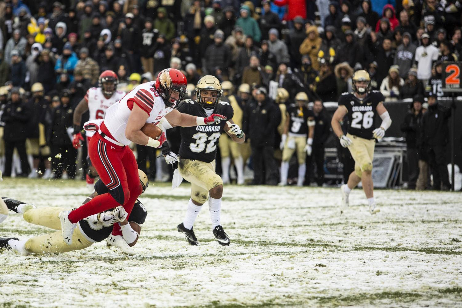 University of Utah freshman tight end Cole Fotheringham (89) gets brought down one yard short of the touchdown by University of Colorado corner back Trey Udoffia (8) at Folsom Field in Boulder, CO Saturday, Nov. 17, 2018. (Photo by: Justin Prather | The Utah Chronicle).