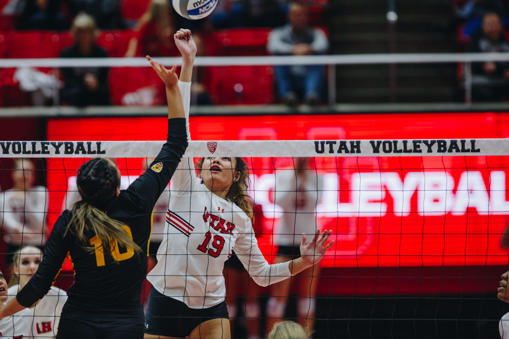 The University of Utah Volleyball team plays against Arizona State University in the Huntsman Center, University of Utah Campus, Salt Lake City, UT on Friday, Nov. 1, 2019. (Photo by Mark Draper   The Daily Utah Chronicle)