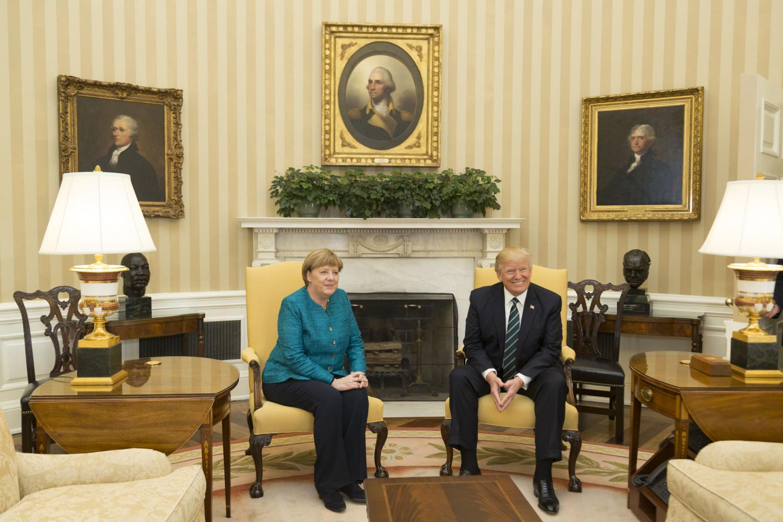 Angela Merkel and Donald Trump (Courtesy Wikimedia Commons)