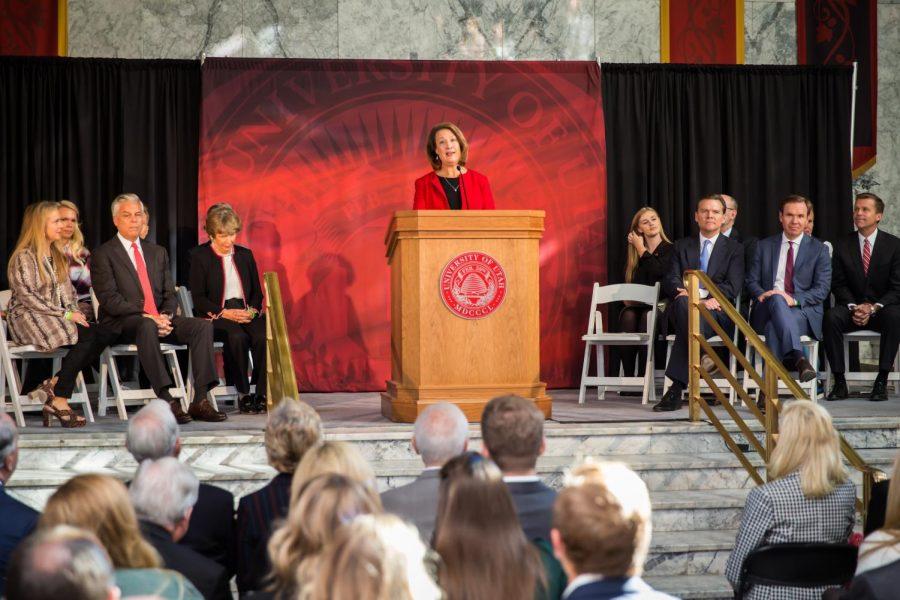 On Nov. 4, 2019, president Ruth Watkins announced a $150 million commitment from the Jon M. and Karen Huntsman family to establish the Huntsman Mental Health Institute at the University of Utah.  (Courtesy of the University of Utah)
