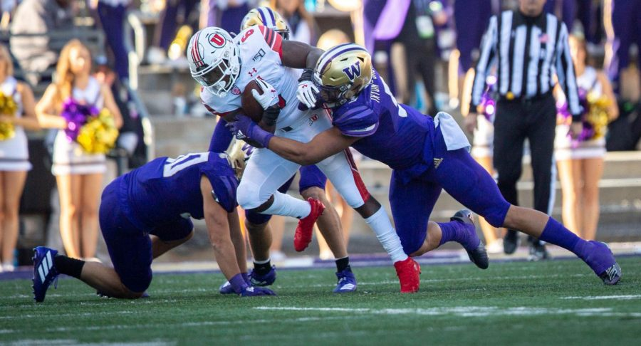 University of Utah running back Devin Brumfield (6) in an NCAA Football game vs. The Washington Husky in Husky Stadium in Seattle, Washinton on Saturday, Nov. 2, 2019(Photo by Cassandra Palor | The Daily Utah Chronicle)