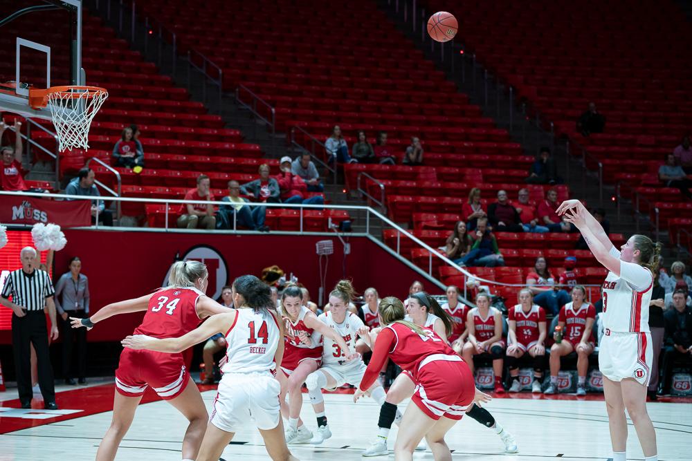 University of Utah Utes Women's Basketball Team Forward Andrea Torres (3) scores from a free throw during an NCAA Basketball match vs. the South Dakota Coyotes at the Jon M. Huntsman Center in Salt Lake City, Utah on Saturday, Nov. 16, 2019. (Photo by Abu Asib | The Daily Utah Chronicle)