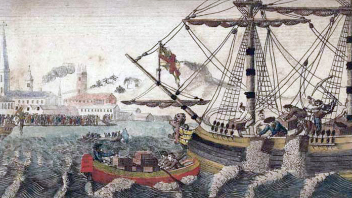 A 1789 engraving of the Boston Tea Party (Courtesy Wikimedia Commons)