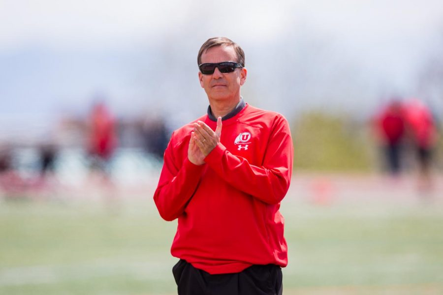 University of Utah Athletic Director Mark Harlan was present at the Utah Spring Classic to present senior awards in an NCAA Track and Field meet at the McCarthey Family Track and Field Complex in Salt Lake City, UT on Saturday April 13, 2019.(Photo by Curtis Lin | Daily Utah Chronicle)