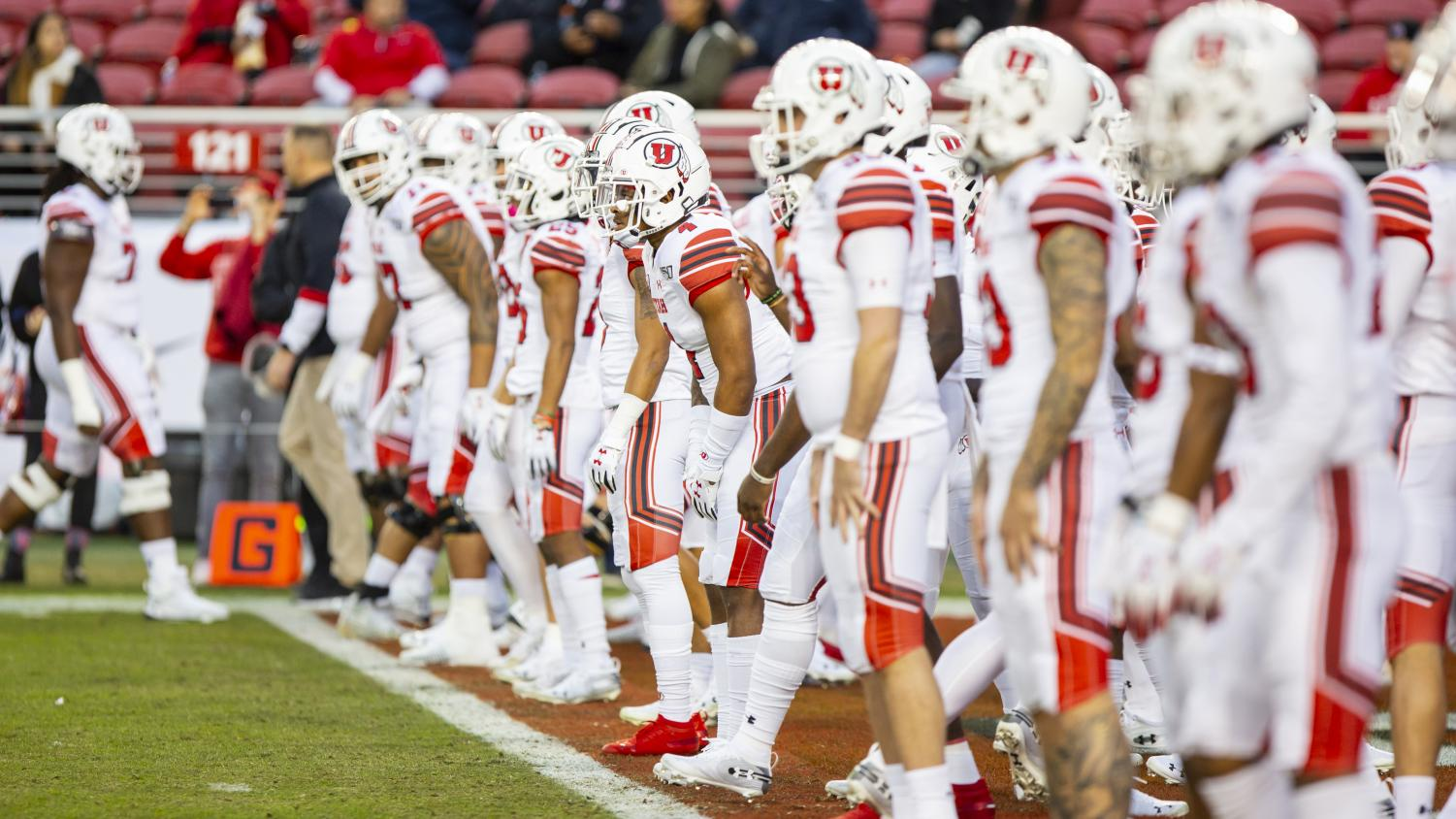 The University of Utah Football Team warms up prior to the start of the game in the Pac-12 Championship Game vs. University of Oregon at Levi's Stadium in Santa Clara, CA on Friday, Dec. 6, 2019.(Photo by Curtis Lin | Daily Utah Chronicle)