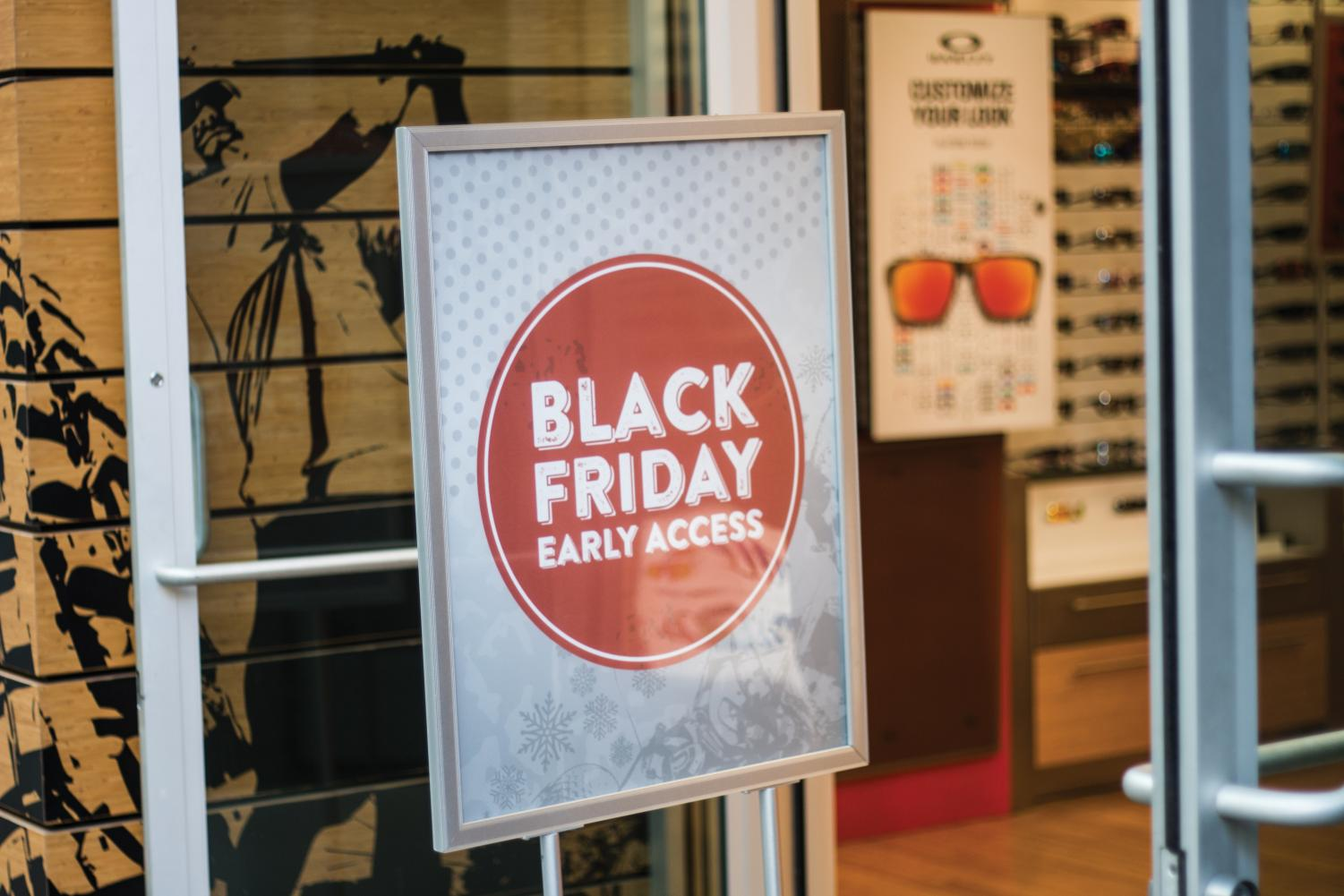 An advertisement for a Black Friday sale at City Creek Mall in Salt Lake City. (Photo by Cara MacDonald | Daily Utah Chronicle)