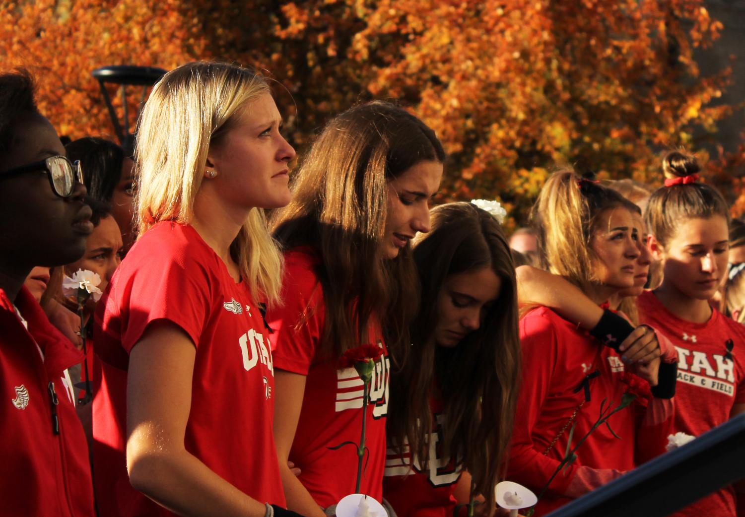 Students, staff, family and friends attend a vigil on the steps of the Park Building for Lauren McCluskey, who was tragically killed on campus at The University of Utah in Salt Lake City, Utah on Wednesday, Oct. 24, 2018. (Photo by Kiffer Creveling | The Daily Utah Chronicle)