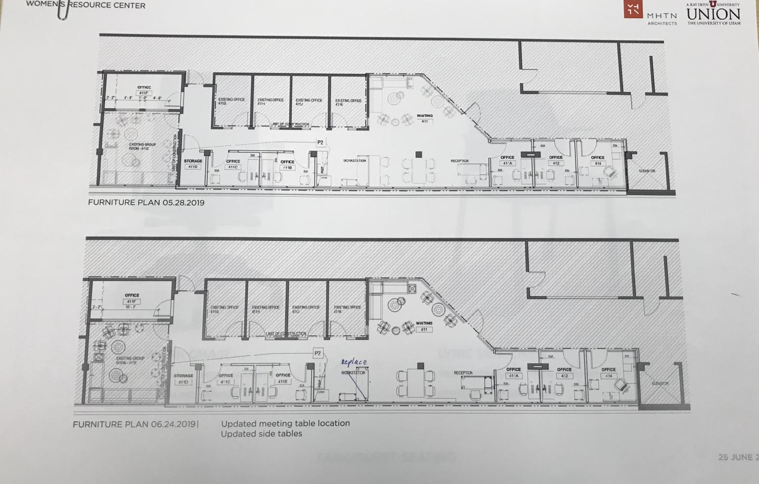 Floor plans for renovations. Photo Courtesy of Women's Resource Center