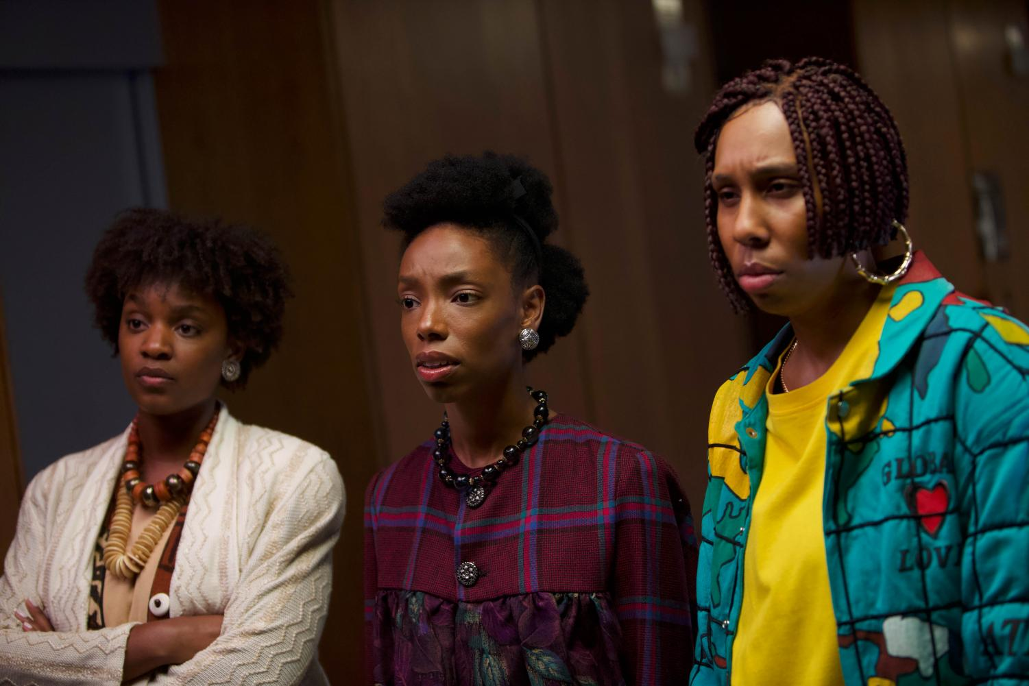 Yaani King Mondschein, Elle Lorraine, and Lena Waithe appears in Bad Hair by Justin Simien, an official selection of the Midnight program at the 2020 Sundance Film Festival. (Courtesy of Sundance Institute)