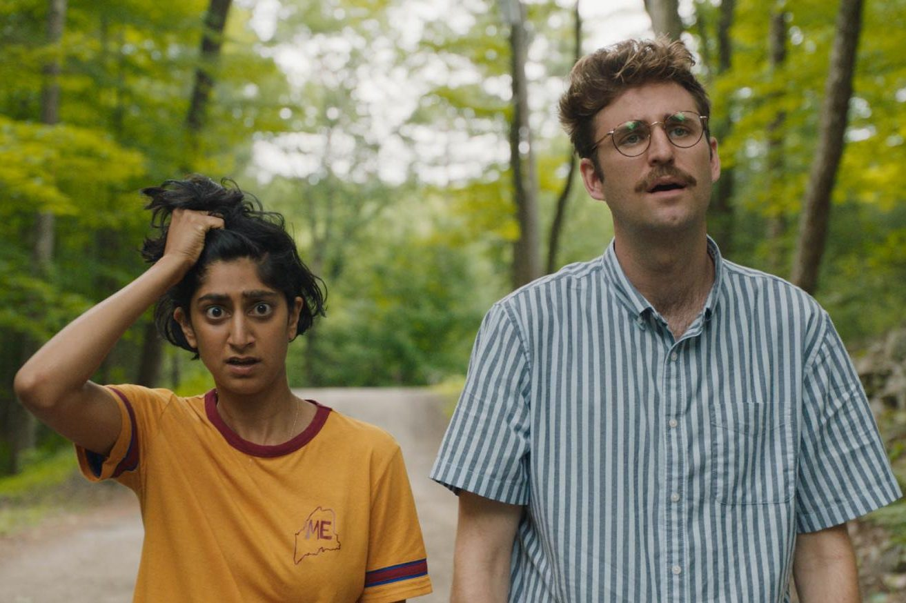 Sunita Mani and John Reynolds appear in Save Yourselves! by Alex Fischer and Eleanor Wilson, an official selection of the U.S. Dramatic Competition at the 2020 Sundance Film Festival. Courtesy of Sundance Institute | photo by Matt Clegg.