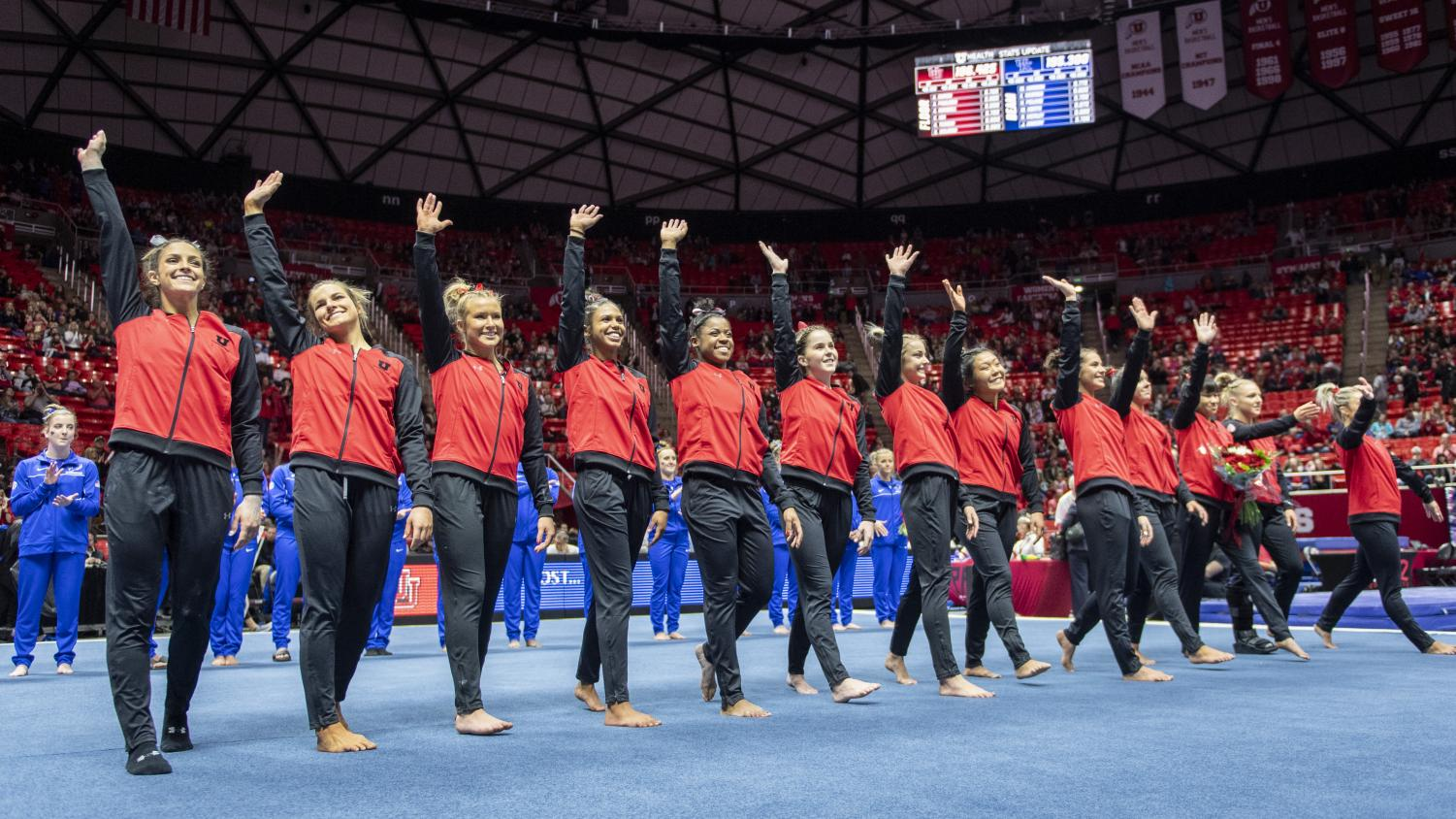 The University of Utah Red Rocks thank the fans following a dual meet vs. The University of Kentucky at the Jon M. Huntsman Center in Salt Lake City, Utah on Friday, Jan. 3, 2020. (Photo by Kiffer Creveling | The Daily Utah Chronicle)