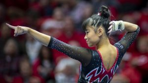 University of Utah women's gymnastics senior Kim Tessen performs on the floor in a dual meet vs. The University of Kentucky at the Jon M. Huntsman Center in Salt Lake City, Utah on Friday, Jan. 3, 2020. (Photo by Kiffer Creveling | The Daily Utah Chronicle)