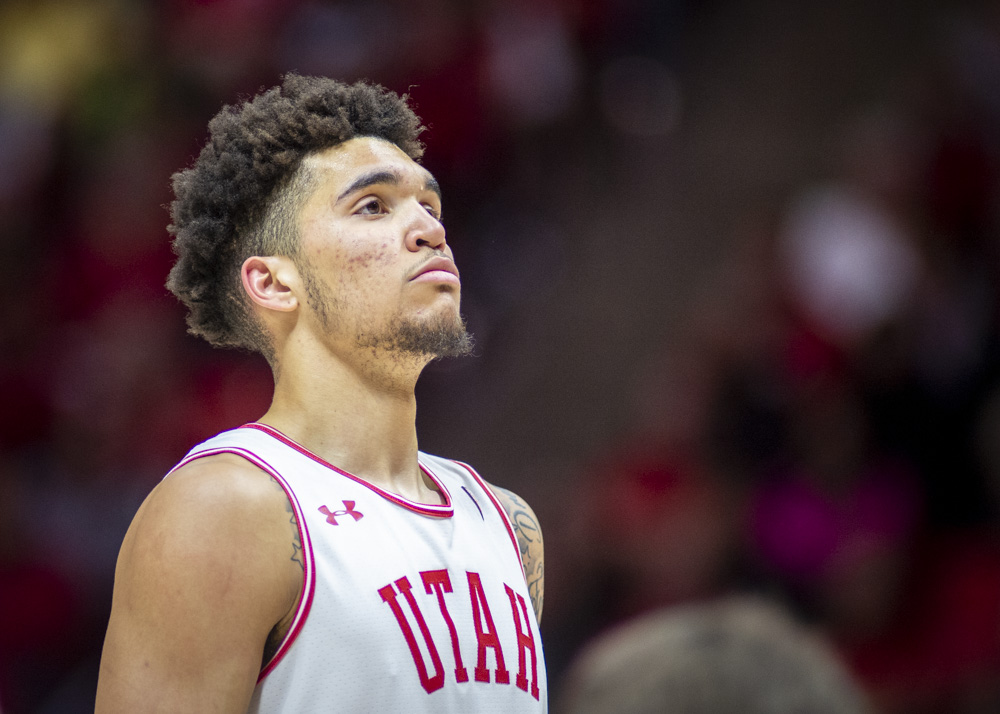 University of Utah sophomore forward Timmy Allen (1) takes a free throw shot during an NCAA Basketball game vs. The University of Oregon at the Jon M. Huntsman Center in Salt Lake City, Utah on Saturday, Jan. 4, 2020. (Photo by Kiffer Creveling | The Daily Utah Chronicle)