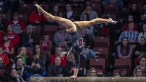University of Utah women's gymnastics junior Sydney Soloski performs on the balance beam in the Deseret dual meet vs. BYU, Utah State, and Southern Utah University at the Maverik Center in Salt Lake City, Utah on Saturday, Jan. 11, 2020. (Photo by Kiffer Creveling | The Daily Utah Chronicle)