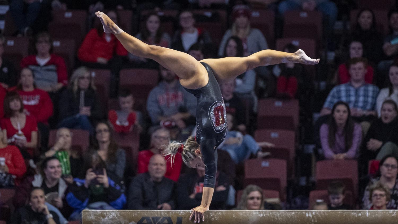 University of Utah women's gymnastics junior Sydney Soloski performs on the balance beam in the Deseret dual meet vs. BYU, Utah State, and Southern Utah University at the Maverik Center in Salt Lake City, Utah on Saturday, Jan. 11, 2020. (Photo by Kiffer Creveling | The Daily Utah Chronicle)
