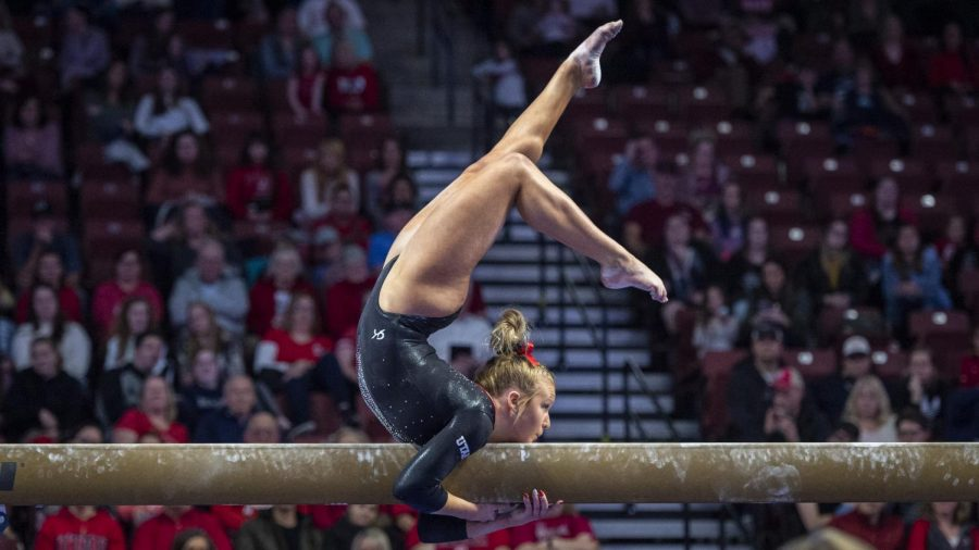 University of Utah womens gymnastics freshman Abby Paulson performs on the balance beam in the Deseret dual meet vs. BYU, Utah State, and Southern Utah University at the Maverik Center in Salt Lake City, Utah on Saturday, Jan. 11, 2020. (Photo by Kiffer Creveling | The Daily Utah Chronicle)