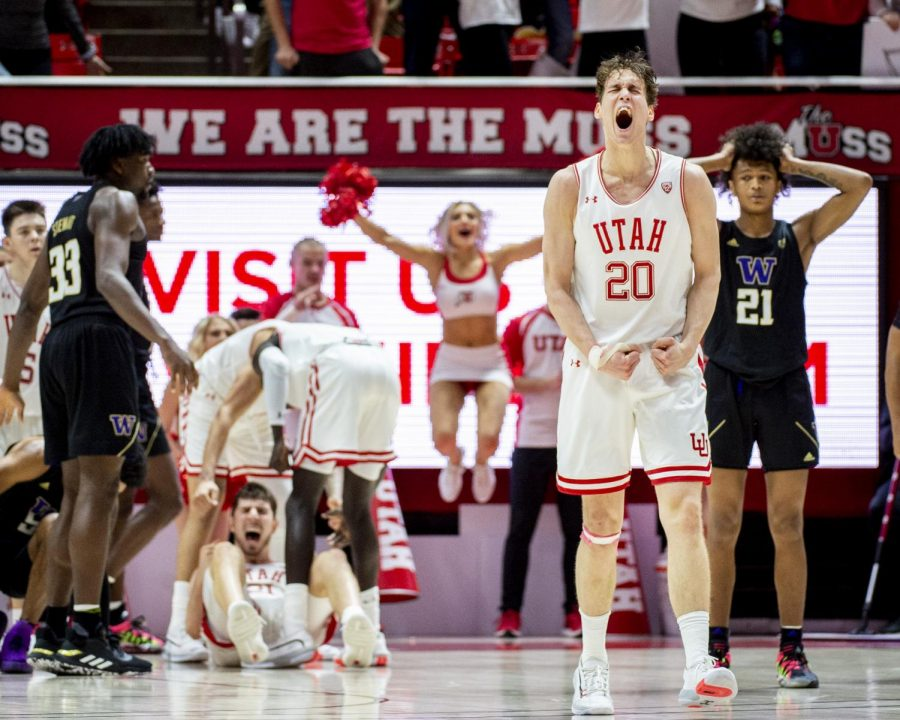 University+of+Utah+freshman+forward+Mikael+Jantunen+%2820%29+reacts+to+the+offensive+foul+call+on+University+of+Washington+sophomore+guard+Jamal+Bey+%285%29+against+Riley+Battin+%2821%29+of+the+Utah+Utes+during+an+NCAA+Basketball+game+at+the+Jon+M.+Huntsman+Center+in+Salt+Lake+City%2C+Utah+on+Thursday%2C+Jan.+23%2C+2020.+%28Photo+by+Kiffer+Creveling+%7C+The+Daily+Utah+Chronicle%29