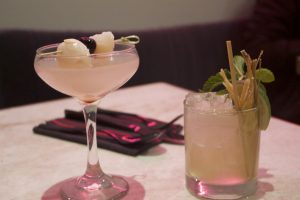 The lychee cosmo and lemongrass mojito at Saola, which serves Asian cuisine in Cottonwood Heights (Photo by Kate Button | Daily Utah Chronicle)