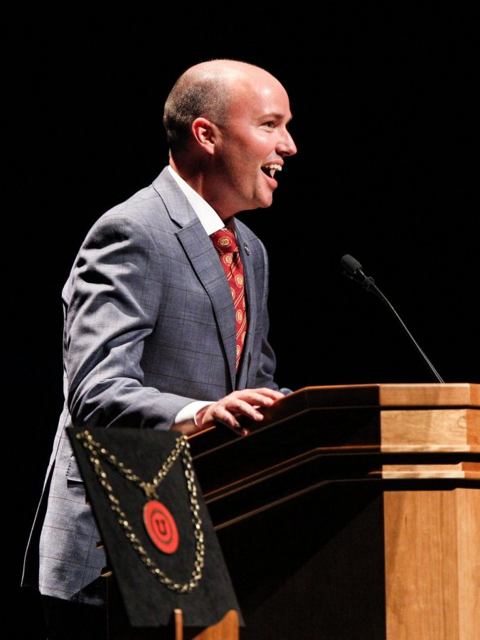 Utah Lt. Gov. Spencer Cox speaking at the inauguration of Ruth Watkins, 16th president of the University of Utah.(Photo by: Justin Prather | The Utah Chronicle)