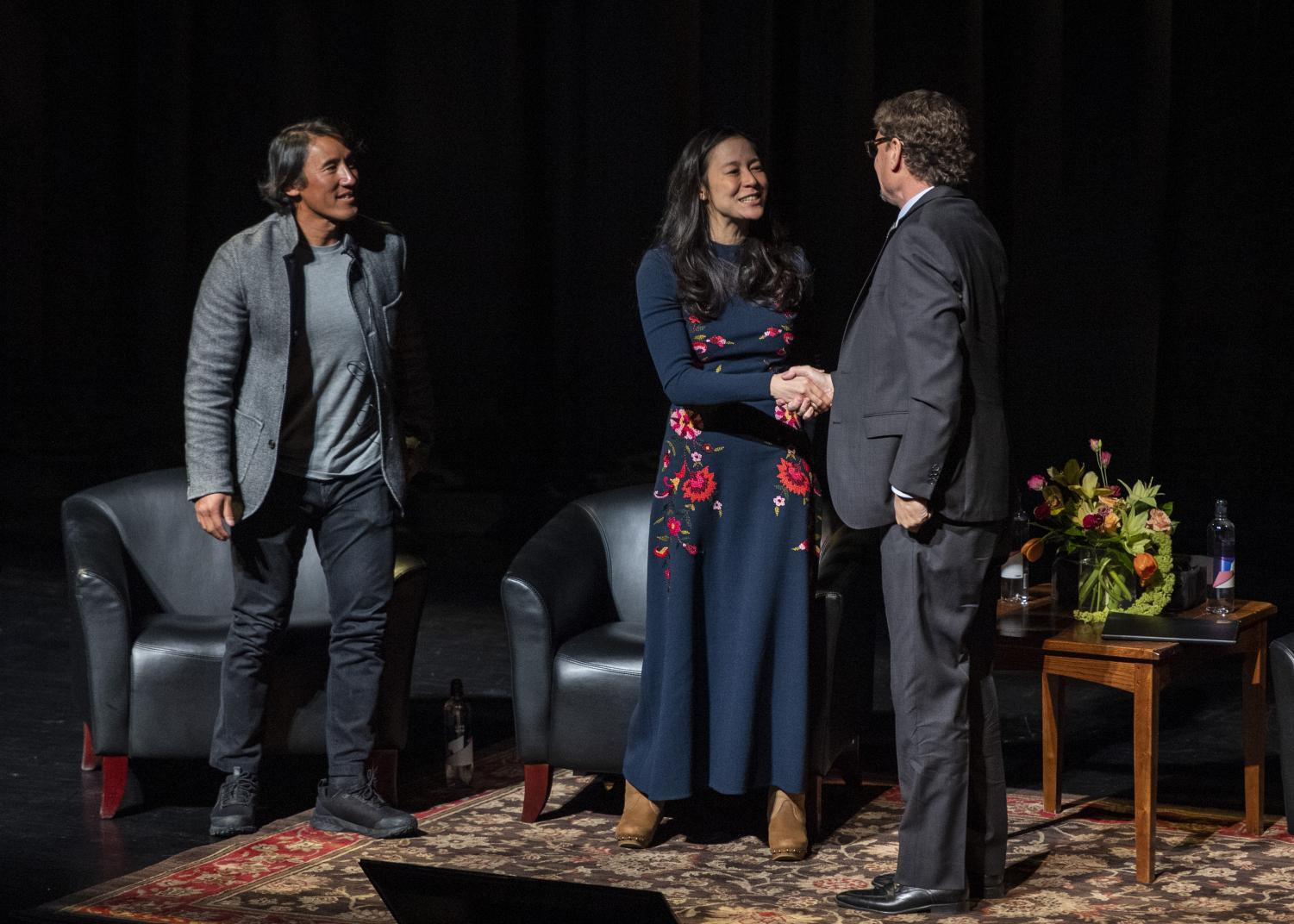Elizabeth Chai Vasarhelyi and Jimmy Chin at the University of Utah MUSE Project (Photo by Kiffer Creveling | Daily Utah Chronicle)