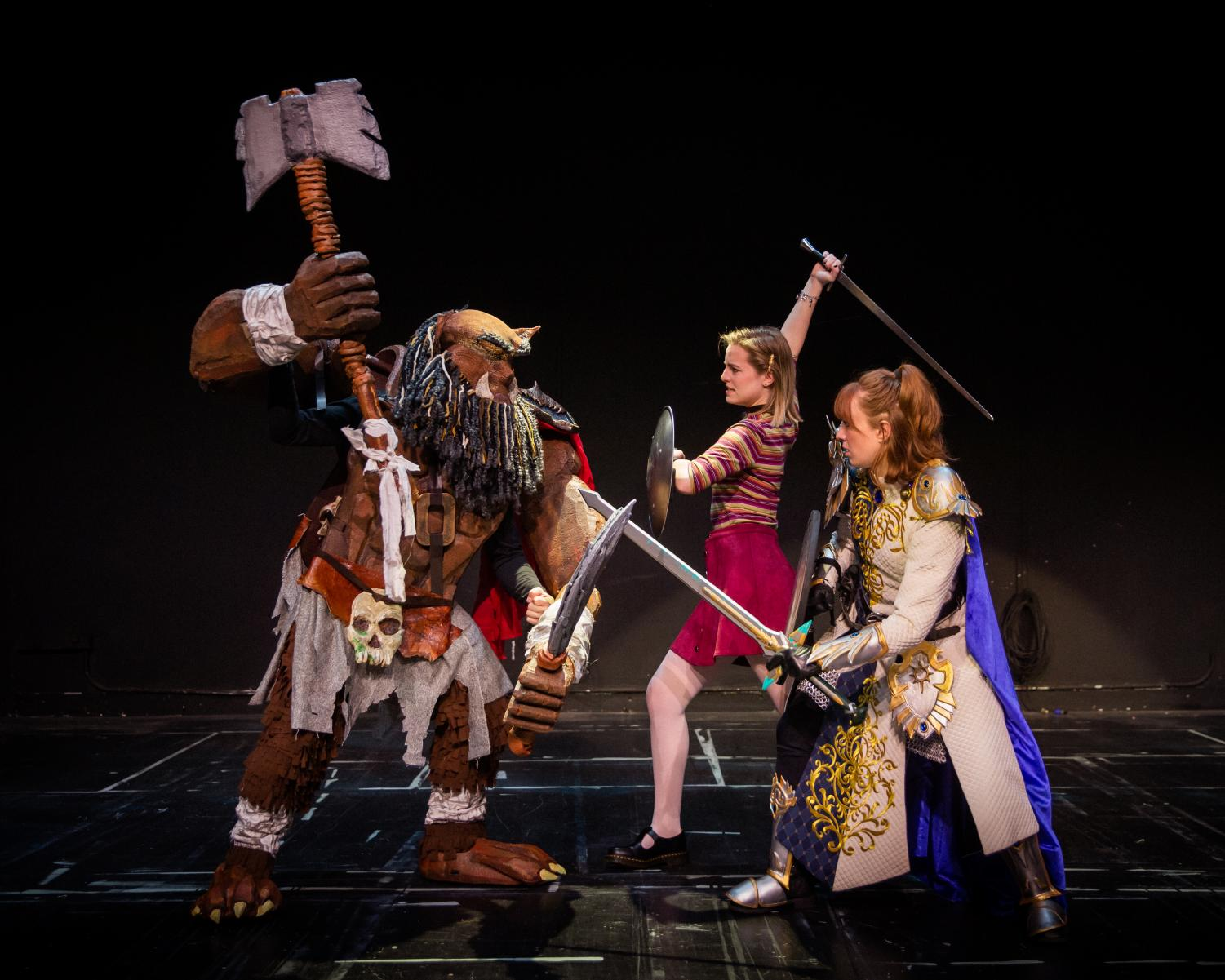 Agnes (Piper Salazar) and Tilly (Allison Bilmeyer) battle a Bugbear (Courtesy Todd Collins I University of Utah Theatre)