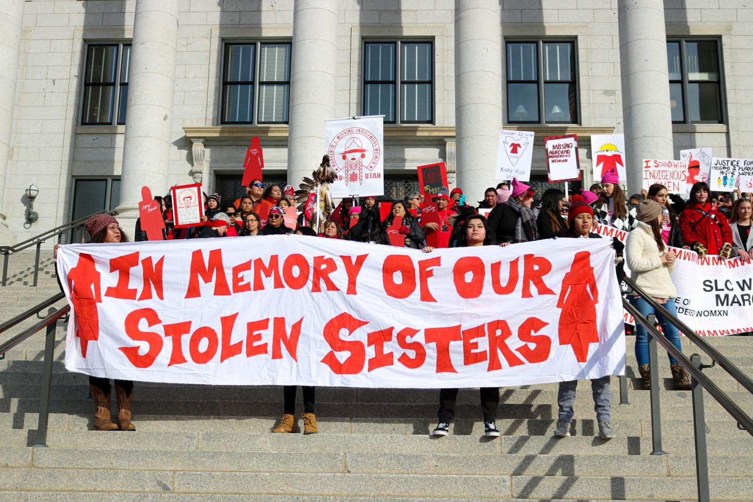 On Jan. 18, 2020 the Missing and Murdered Indigenous Women organization of Utah gather together in solidarity for their stolen sisters at the State Capitol in Salt Lake City, Utah. (Photo by Ivana Martinez | Daily Utah Chronicle)