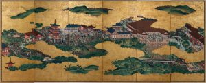Kano School (Japanese) The Kiyomizu Temple, Edo period circa 1825, Japanese ink, gouache, paper, wood, silk, gold leaf, 67 in; open: 150 x 3/4 in; closed: 25 1/8 x 4 1/2 in, Purchased with funds from the Mariner S. Eccles Foundation for the Marriner S. Eccles Collection of Masterworks. (Courtesy UMFA)