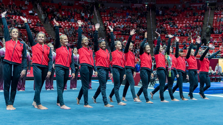 University of Utah women's gymnastics team greets the crowd after their victory in a dual meet vs. Arizona State University at the Jon M. Huntsman Center in Salt Lake City, Utah on Friday, Jan. 24, 2020. (Photo by Abu Asib | The Daily Utah Chronicle)