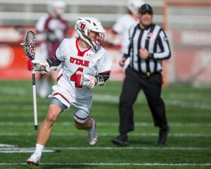University of Utah Senior Jimmy Perkins (4) runs for a pass during an NCAA Lacrosse game vs. Bellarmine University at the Rice-Eccles Stadium in Salt Lake City on Friday, Feb. 1, 2020. (Photo by Abu Asib | Daily Utah Chronicle)