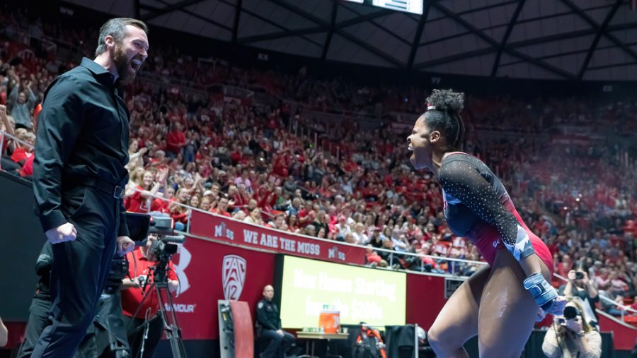 University+of+Utah+women%27s+gymnastics+sophomore+Cammy+Hall+is+cheered+by+University+of+Utah+assistant+gymnastics+coach+Garrett+Griffeth+after+her+performance+on+the+%0AVault+in+a+dual+meet+vs.+Oregon+State+University+at+the+Jon+M.+Huntsman+Center+in+Salt+Lake+City%2C+Utah+on+Saturday%2C+Feb.+15%2C+2020.++%28Photo+by+Abu+Asib+%7C+The+Daily+Utah+Chronicle%29