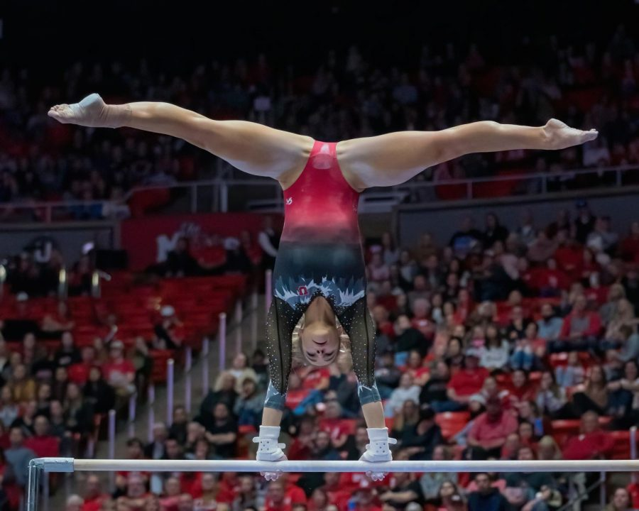 University+of+Utah+women%27s+gymnastics+senior+Missy+Reinstadtler+performs+on+the+Uneven+Bars+in+a+dual+meet+vs.+Oregon+State+University+at+the+Jon+M.+Huntsman+Center+in+Salt+Lake+City%2C+Utah+on+Saturday%2C+Feb.+15%2C+2020.+%28Photo+by+Abu+Asib+%7C+The+Daily+Utah+Chronicle%29