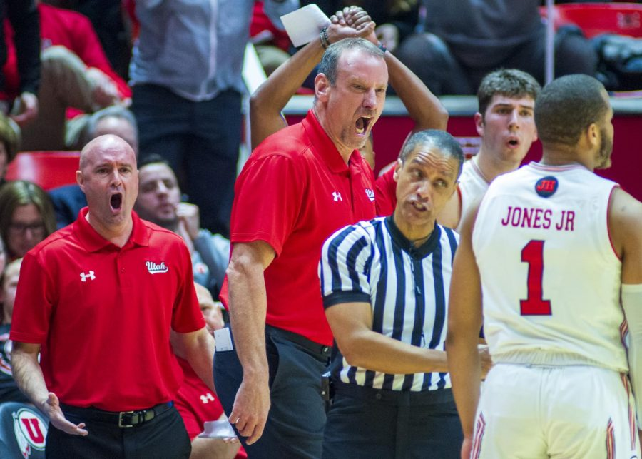 University of Utah head coach Larry Krystkowiak reacts to a call by a referee during an NCAA Basketball game vs. The University of Washington at the Jon M. Huntsman Center in Salt Lake City, Utah on Thursday, Jan. 10, 2019. (Photo by Kiffer Creveling | The Daily Utah Chronicle)