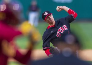 University of Utah redshirt sophomore left-handed pitcher Riley Pierce (10) pitches during an NCAA Baseball game at the Smith's Ballpark in Salt Lake City, Utah on Thursday, April 11, 2019. (Photo by Kiffer Creveling | Daily Utah Chronicle)