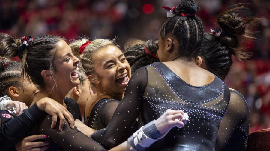 The Red Rocks congratulate University of Utah womens gymnastics junior Alexia Burch after her performance on the vault in a dual meet vs. Arizona State at the Jon M. Huntsman Center in Salt Lake City, Utah on Friday, Jan. 24, 2020. (Photo by Kiffer Creveling | The Daily Utah Chronicle)