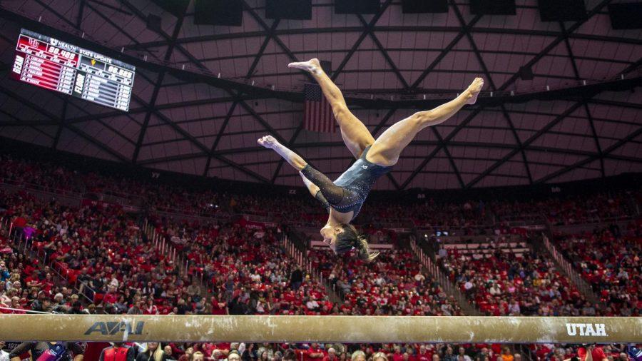 University+of+Utah+women%27s+gymnastics+junior+Emilie+LeBlanc+performs+on+the+balance+beam+in+a+dual+meet+vs.+Arizona+State+at+the+Jon+M.+Huntsman+Center+in+Salt+Lake+City%2C+Utah+on+Friday%2C+Jan.+24%2C+2020.++%28Photo+by+Kiffer+Creveling+%7C+The+Daily+Utah+Chronicle%29