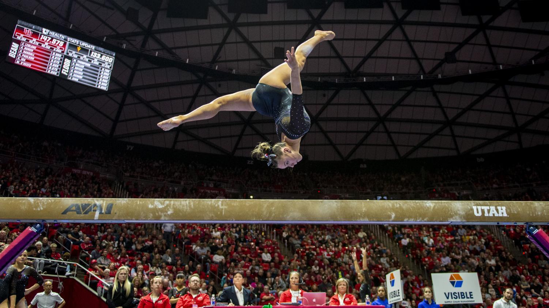 University of Utah women's gymnastics freshman Maile O'Keefe performs on the balance beam in a dual meet vs. Arizona State at the Jon M. Huntsman Center in Salt Lake City, Utah on Friday, Jan. 24, 2020. (Photo by Kiffer Creveling | The Daily Utah Chronicle)