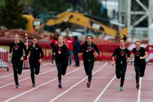 Utah Utes Women's Track & Field team warms up as The University of Utah and Weber State host the Utah Spring Classic at the McCarthey Family Track and Field Complex in Salt Lake City, UT on Friday April 06, 2018. (Photo by Curtis Lin/ Daily Utah Chronicle)