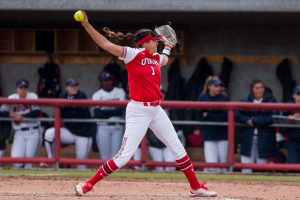 University of Utah freshman pitcher Sydney Sandez (1) pitched the ball in an NCAA Softball game vs. Arizona at Dumke Family Softball Field in Salt Lake City on Saturday April 6, 2019.(Photo by Curtis Lin | Daily Utah Chronicle)