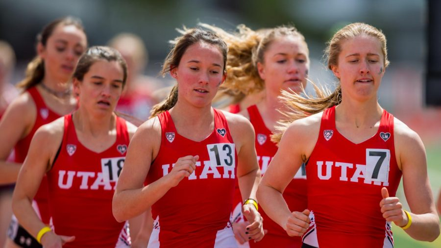 University of Utah sophomore distance runner Emma Christensen (7) led the Utes in the Women's 3000 meter run in an NCAA Track and Field meet at the McCarthey Family Track and Field Complex in Salt Lake City, UT on Saturday April 13, 2019.(Photo by Curtis Lin | Daily Utah Chronicle)