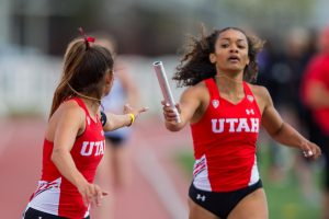 The University of Utah's Track and Field team during the Women's 4x400 Meter Relay in an NCAA Track and Field meet at the McCarthey Family Track and Field Complex in Salt Lake City on Saturday, April 13, 2019. (Photo by Curtis Lin | Daily Utah Chronicle)
