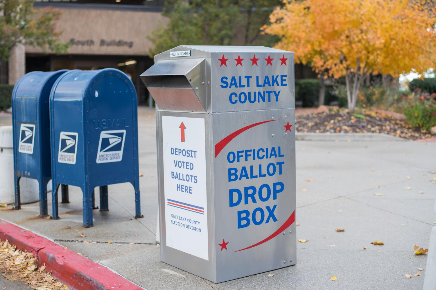 An Official Ballot Drop Box for the Midterm Elections 2018 at the Salt Lake County Building in Salt Lake City on Tuesday, Oct. 23, 2018. (Photo by Curtis Lin | Daily Utah Chronicle)