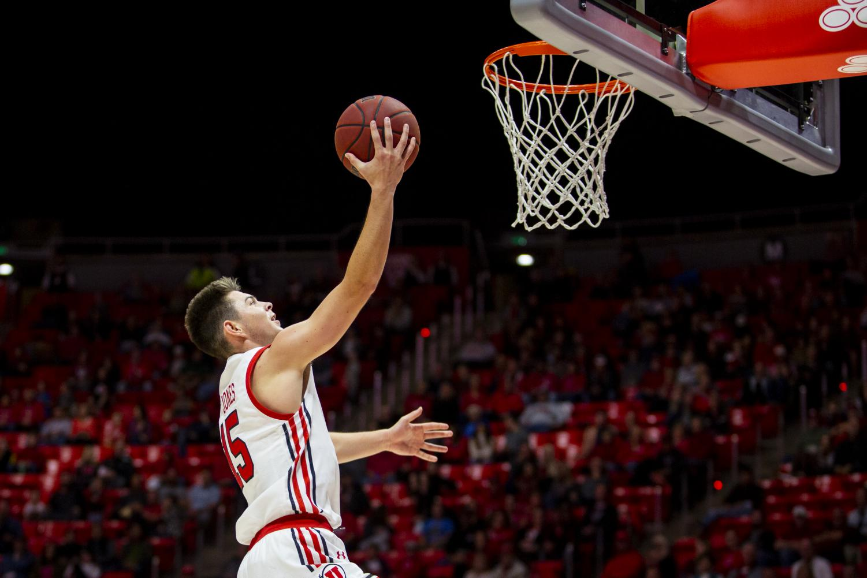 University of Utah freshman guard Rylan Jones (15) shoots a layup in an NCAA Men's Basketball game vs. Mississippi Valley State University at Jon M. Huntsman Center in Salt Lake City, UT on Friday November 08, 2019.(Photo by Curtis Lin | Daily Utah Chronicle)