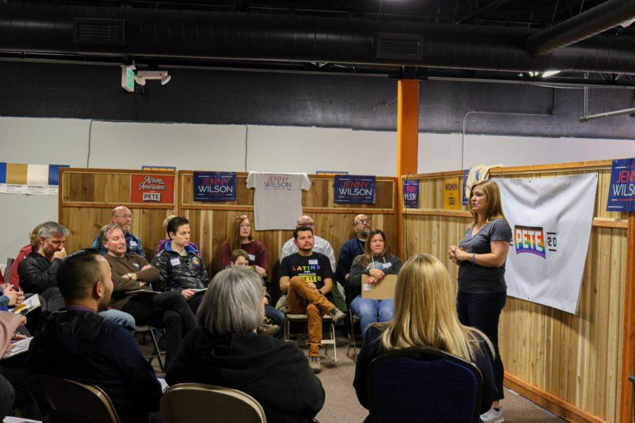 Mayor of Salt Lake County, Jenny Wilson, speaks at a Pete Buttigieg canvassing launch on Feb. 22, 2020 at 193 W. 2100 South, Salt Lake City. (Photo by Ivana Martinez | Daily Utah Chronicle)